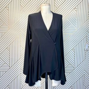 Sympli Black Button Front Wrap Tunic Top